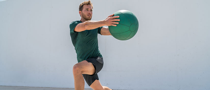 Man doing core strength exercise to improve balance